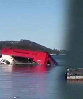 Hazmat Crews Cleaning Up Overturned Sewage Truck On Sydney's Northern Beaches
