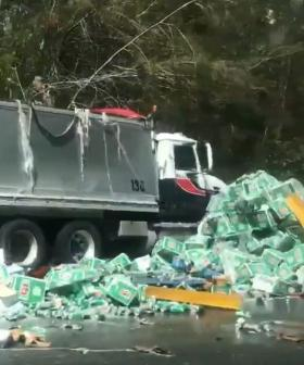 Beer Truck Drops Load All Over NSW Highway