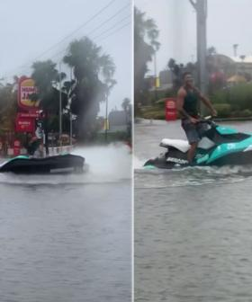 Man Filmed Riding A Jet Ski To Maccas After Heavy Rain Causes Flash Flooding In NSW
