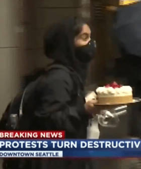 Light Amidst The Dark, A Legendary US Protester Loots Entire Cheesecake & Wine Glasses